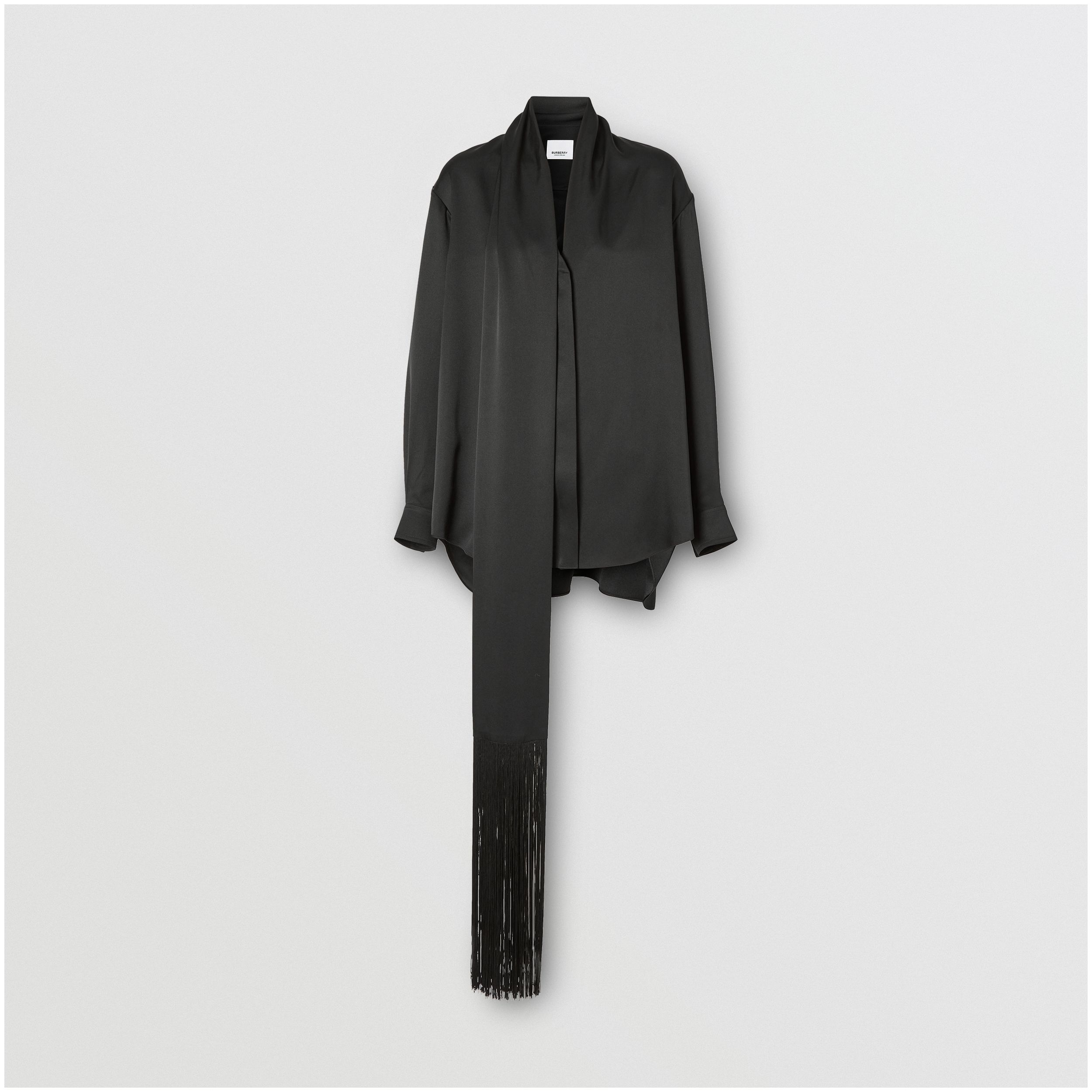 Fringed Scarf Detail Silk Satin Shirt in Black - Women | Burberry - 4