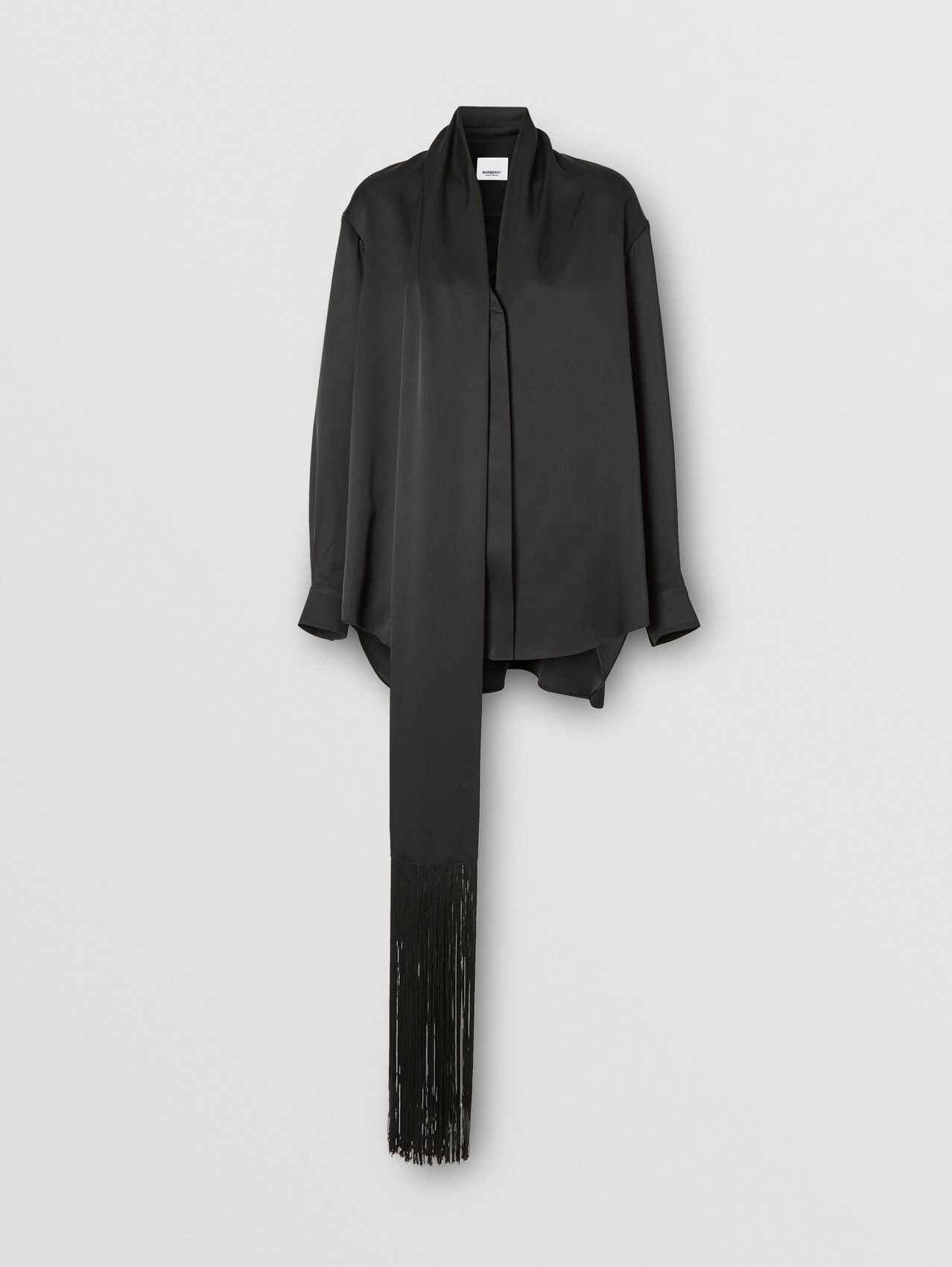 Fringed Scarf Detail Silk Satin Shirt in Black