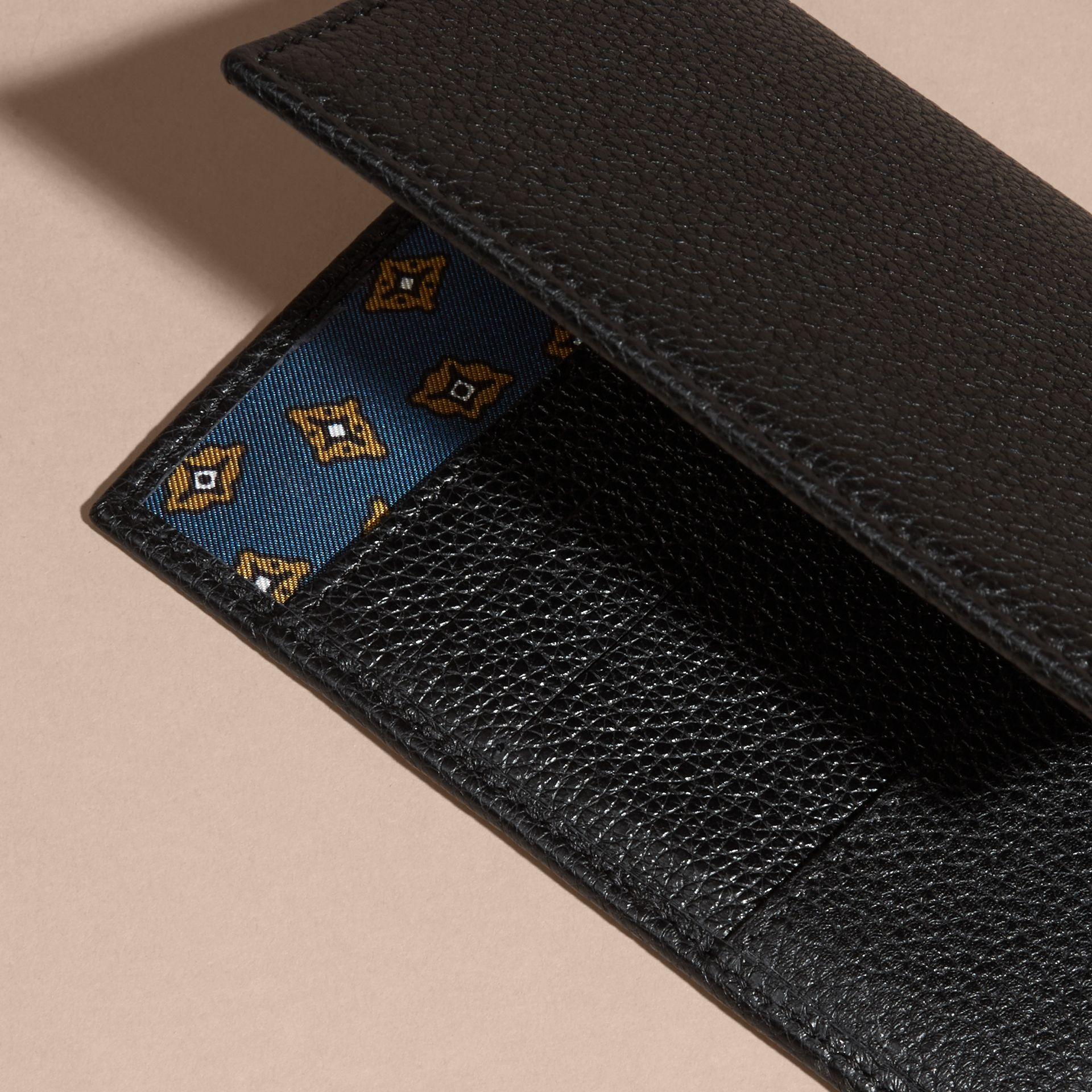 Black Grainy Leather Passport and Card Holder Black - gallery image 4