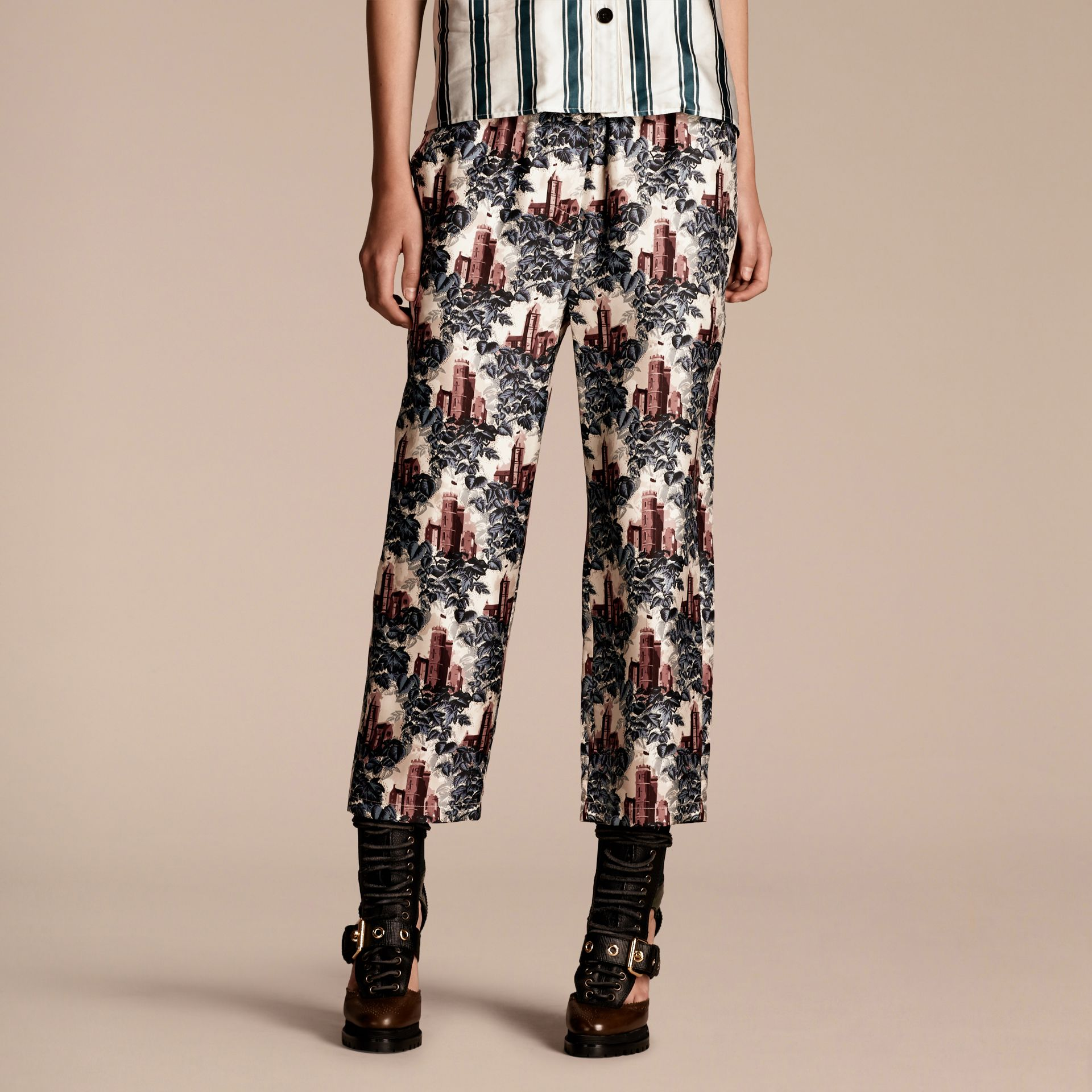 Airforce blue Castle Print Silk Twill Cropped Pyjama-style Trousers - gallery image 1