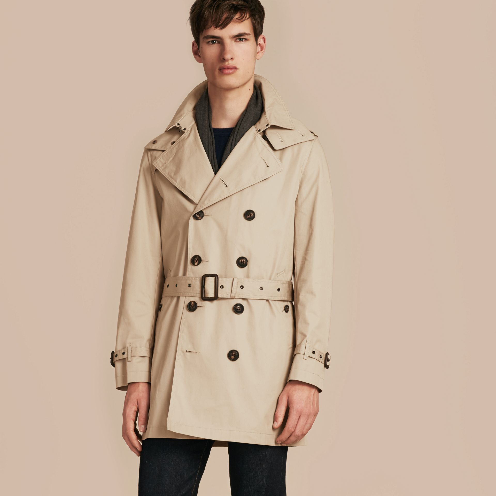 Taupe Cotton Trench Coat with Detachable Hood Taupe - gallery image 7