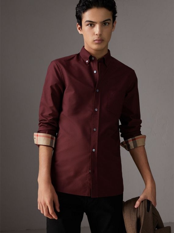 Check Detail Cotton Oxford Shirt in Oxblood