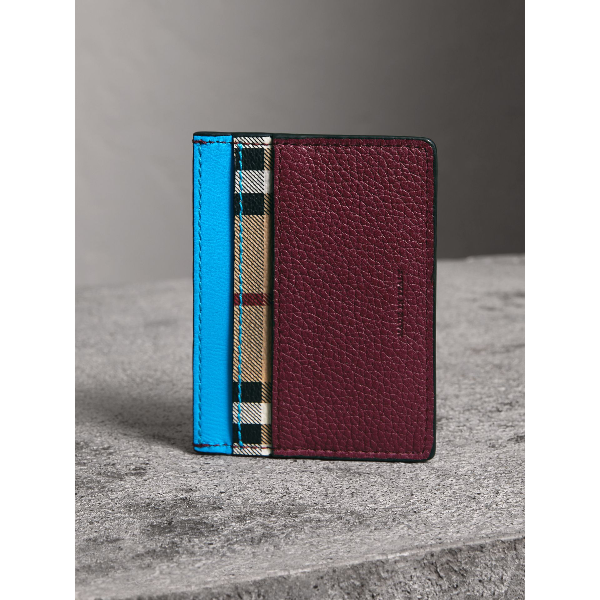 Haymarket Check and Two-tone Leather Card Case in Bright Blue - Men | Burberry United Kingdom - gallery image 2