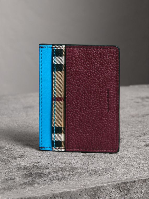 Haymarket Check and Two-tone Leather Card Case in Bright Blue - Men | Burberry - cell image 2