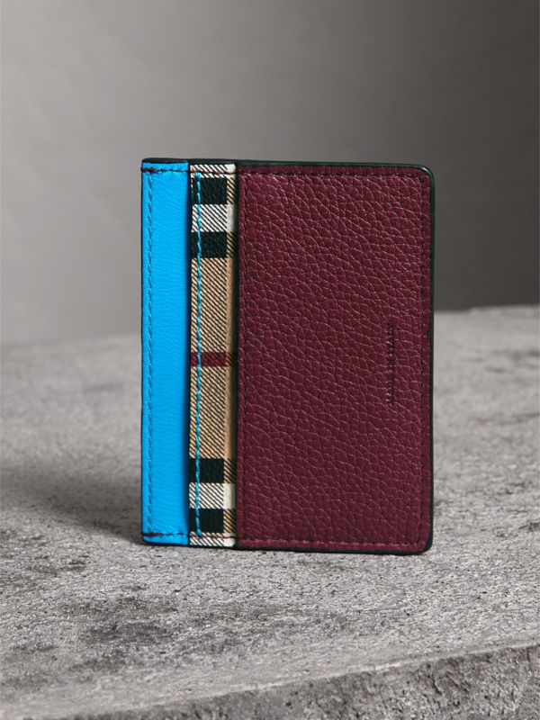 Haymarket Check and Two-tone Leather Card Case in Bright Blue | Burberry - cell image 2