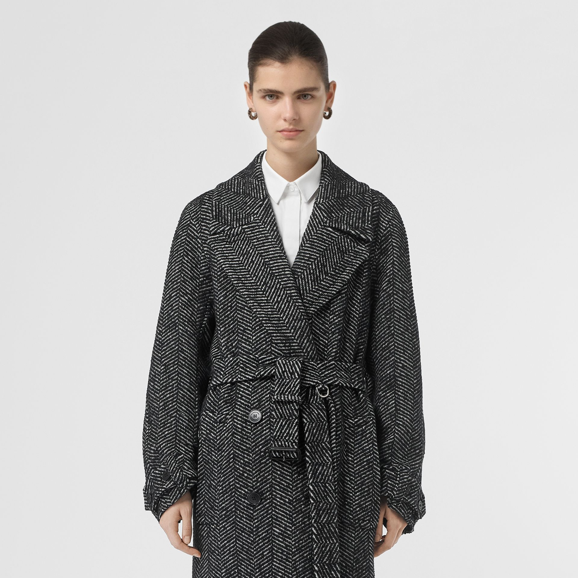 Herringbone Wool Silk Blend Double-breasted Coat in Black - Women | Burberry Canada - gallery image 6