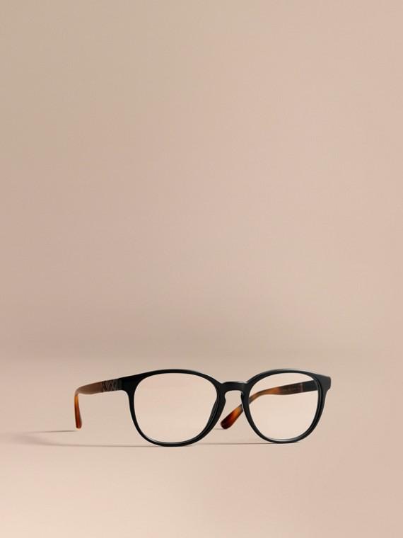 Gafas de ver de montura redonda con detalle a cuadros Negro
