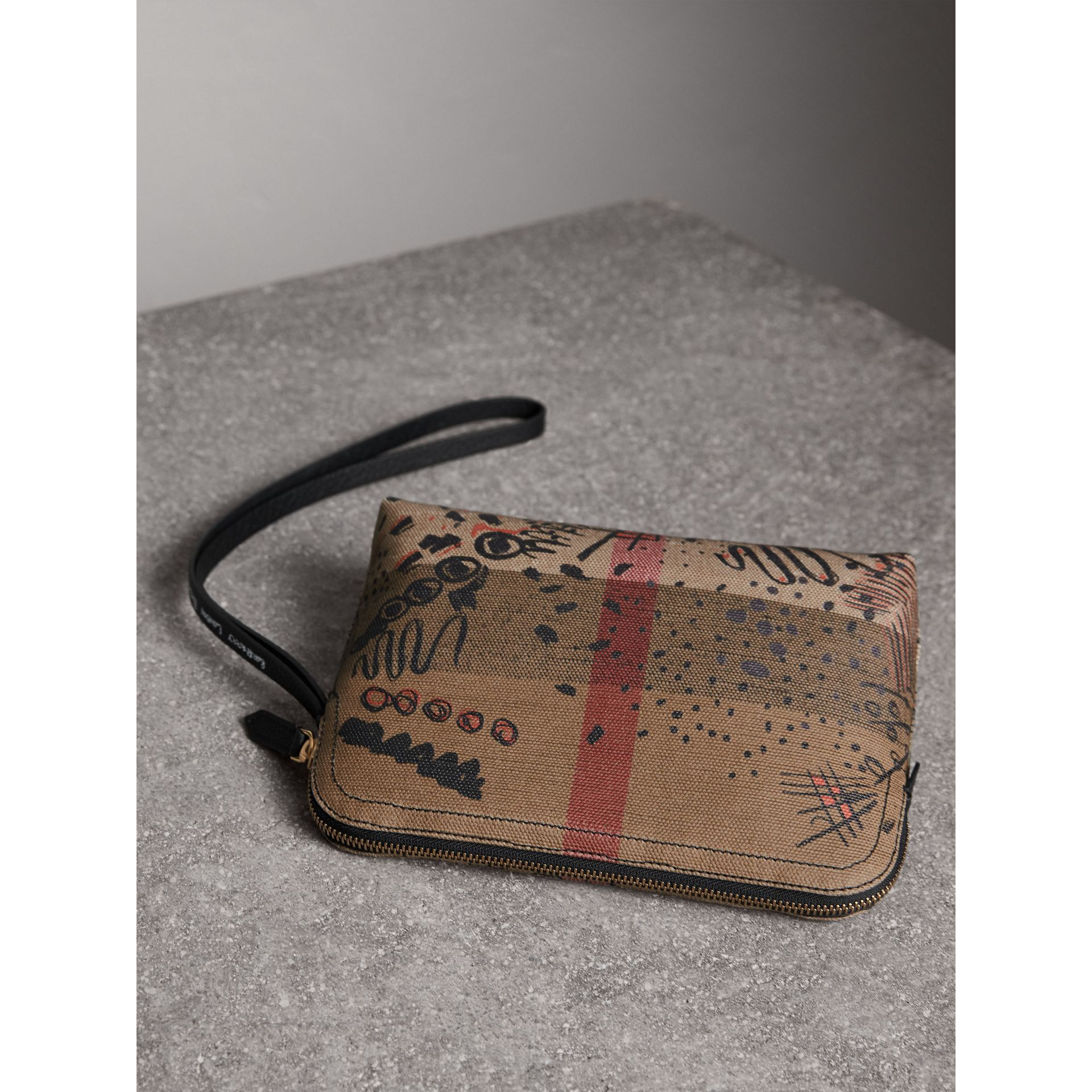 Large Doodle Print Coated Check Canvas Pouch in Classic Check/black - Women | Burberry - gallery image 3