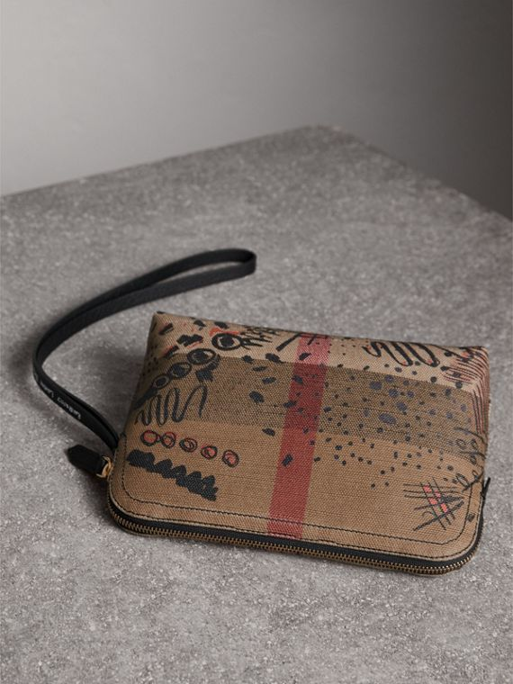 Large Doodle Print Coated Check Canvas Pouch in Classic Check/black - Women | Burberry Hong Kong - cell image 3