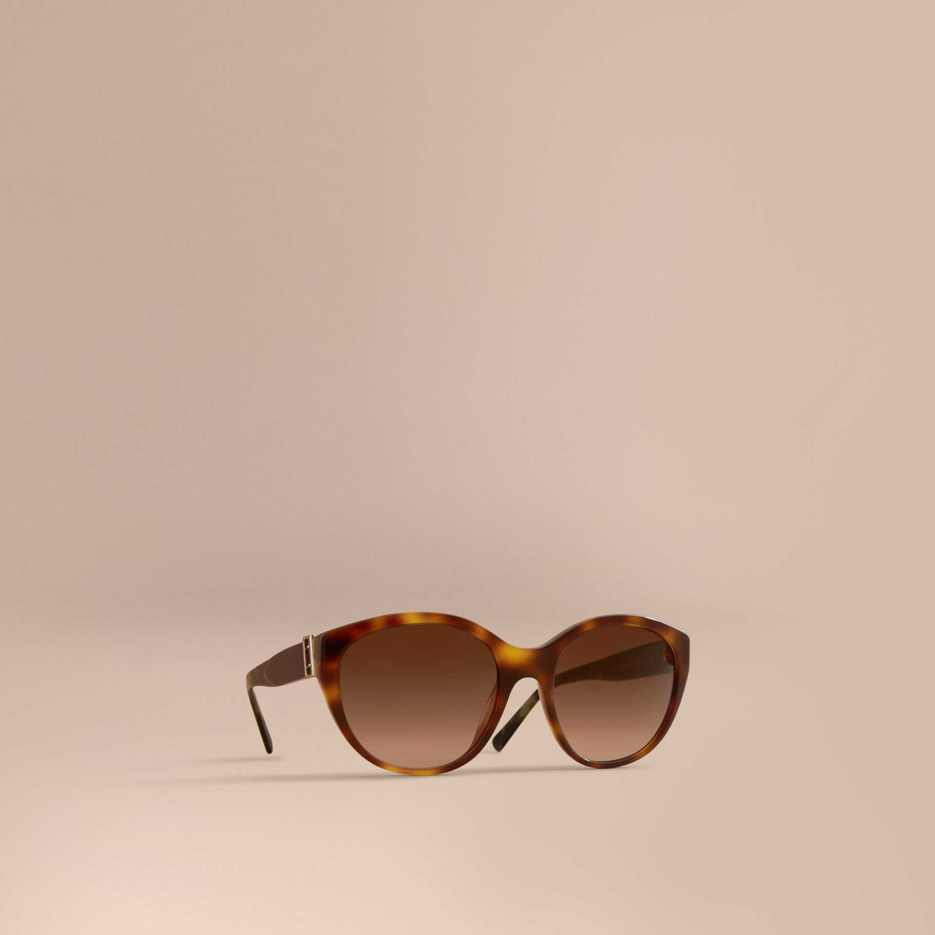 Buckle Detail Round Frame Sunglasses in Tortoise Green - Women | Burberry - gallery image 1