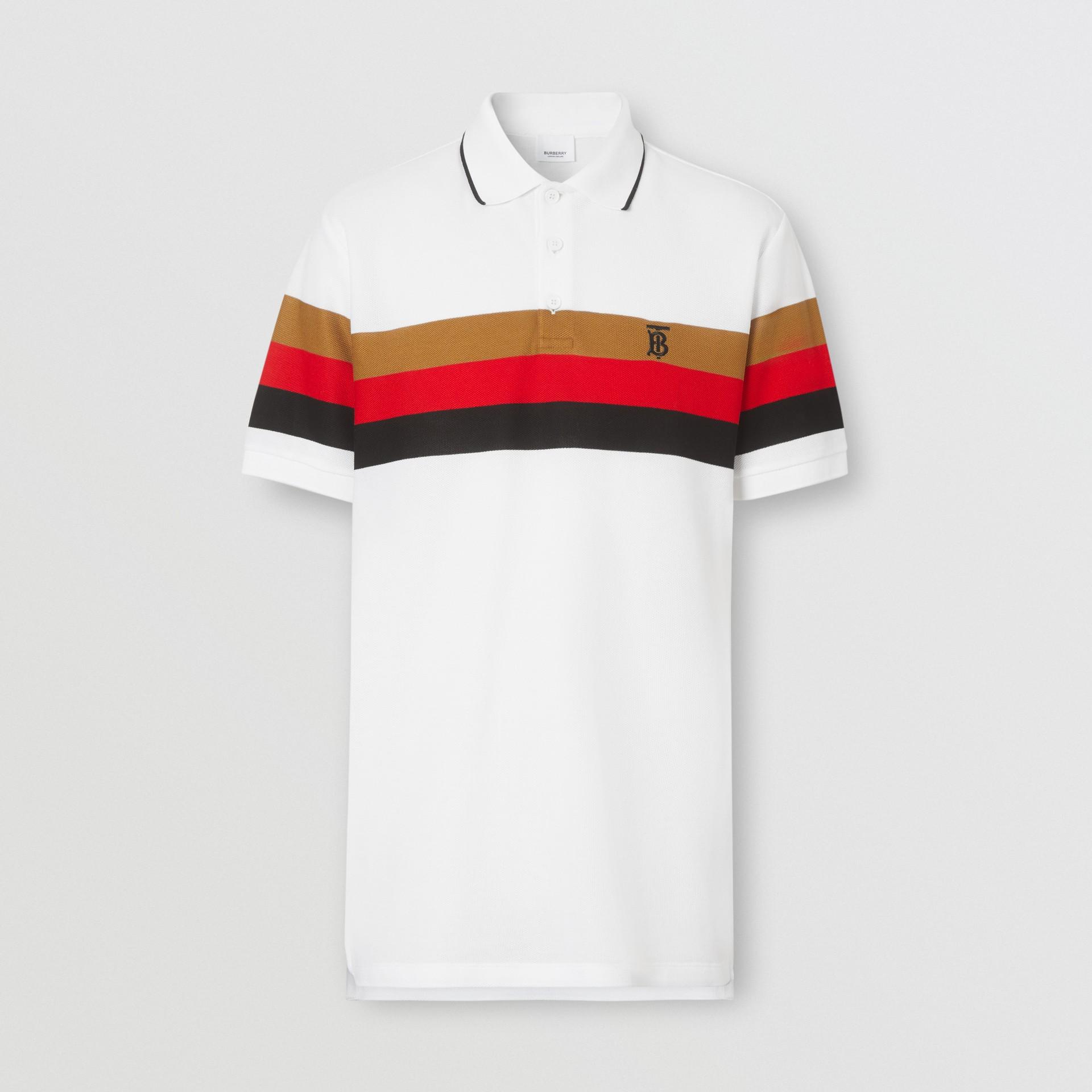 Monogram Motif Striped Cotton Polo Shirt in White - Men | Burberry - gallery image 3