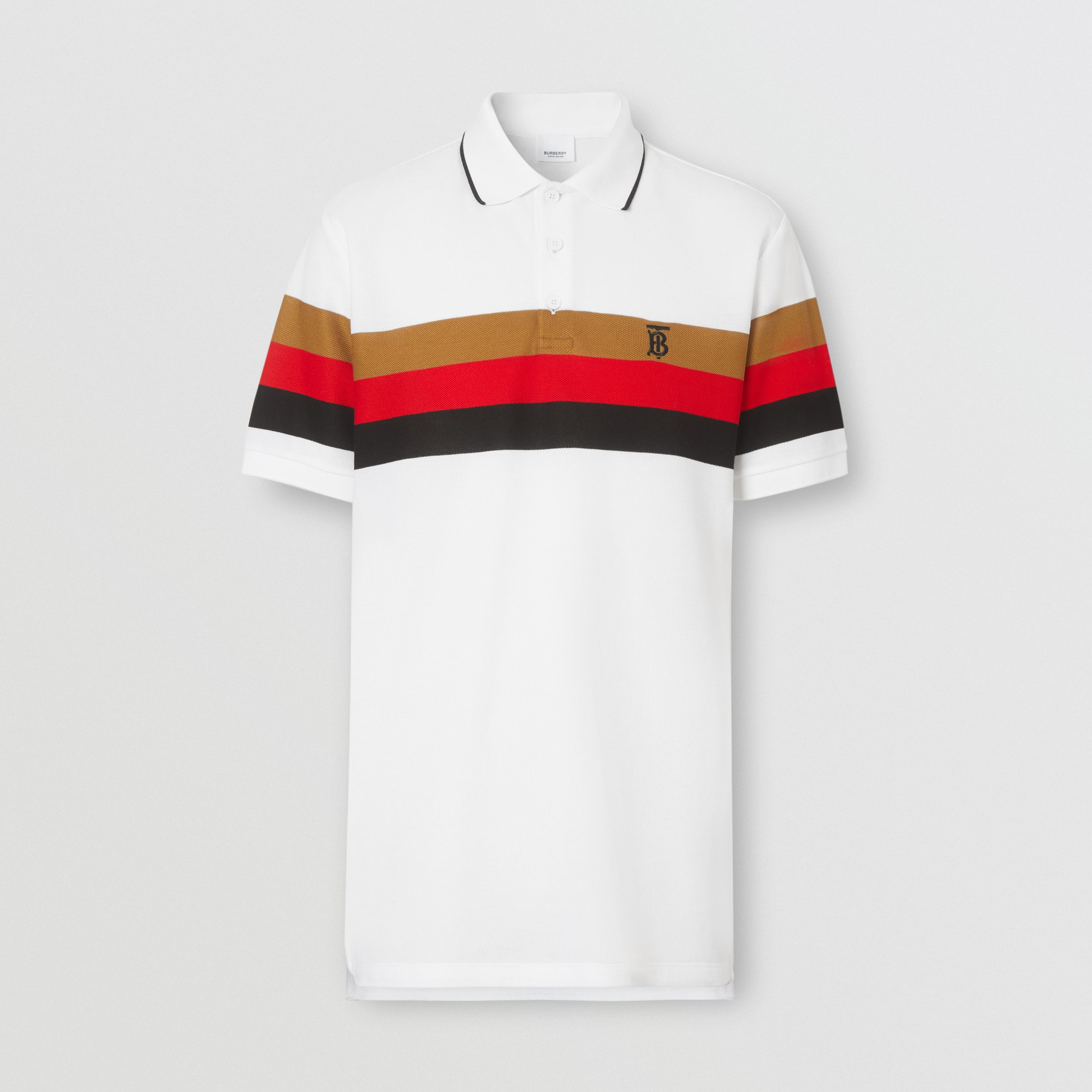 Monogram Motif Striped Cotton Polo Shirt in White - Men | Burberry - 4