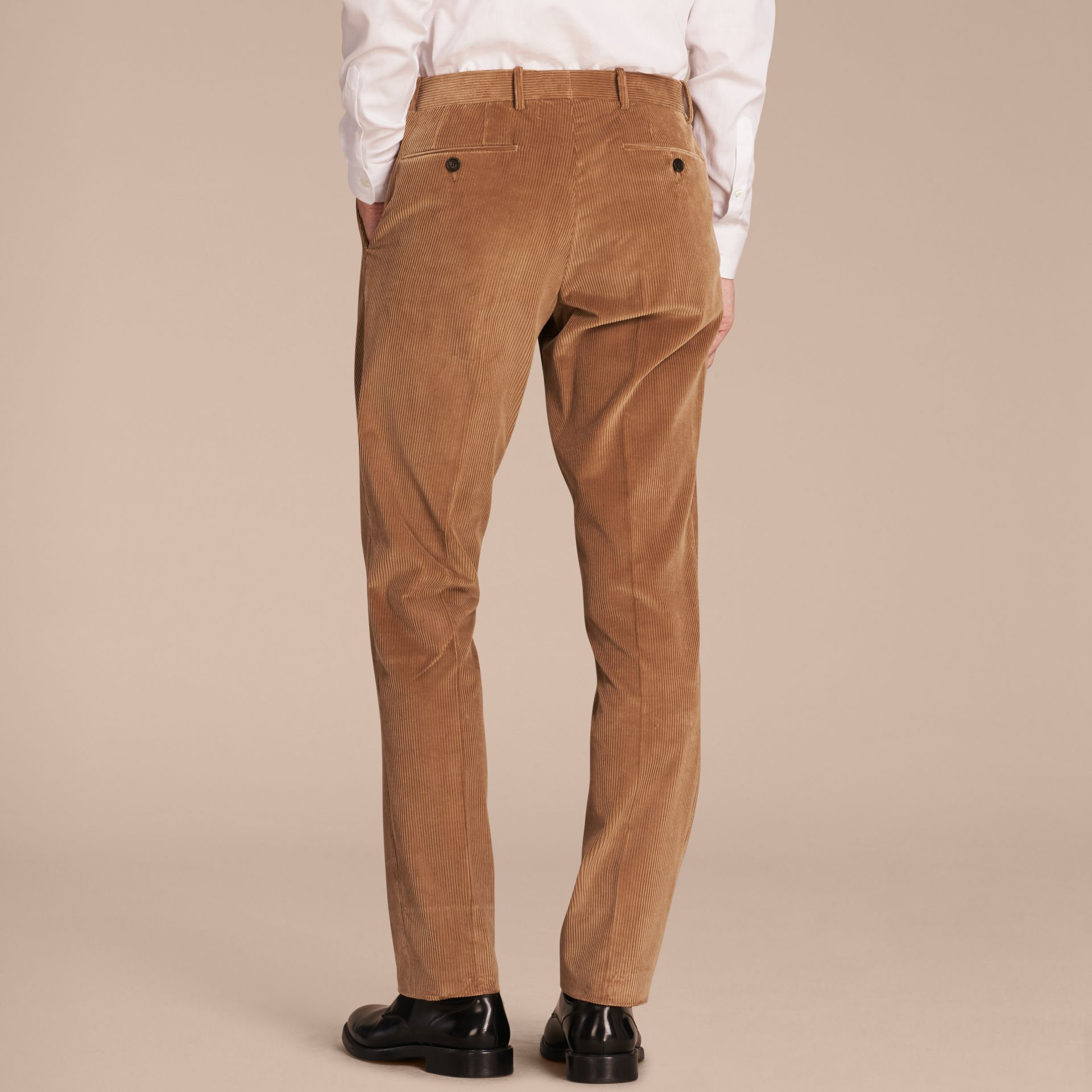 Camel Slim Fit Cotton Corduroy Trousers Camel - gallery image 3