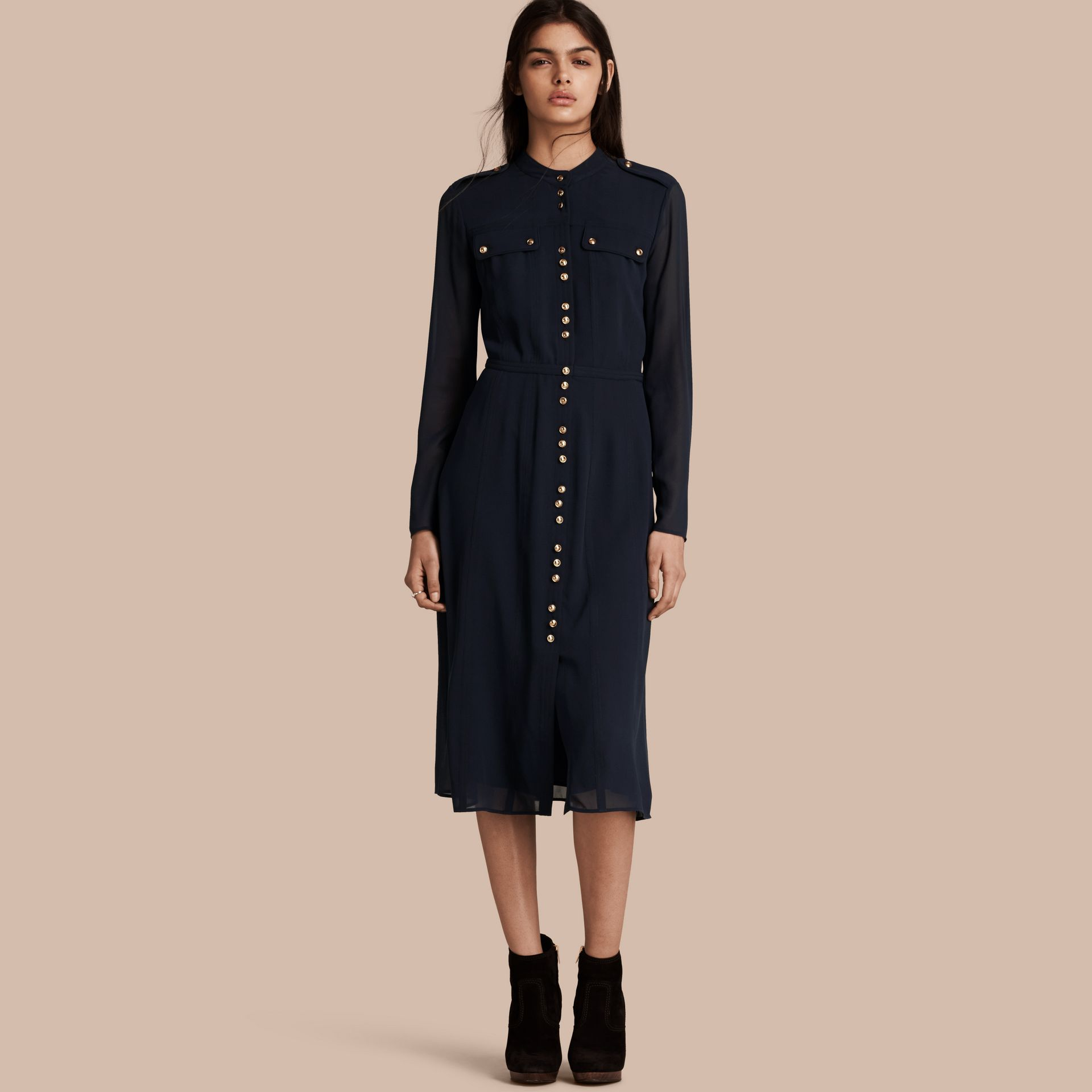 Navy Silk Dress with Polished Buttons - gallery image 1