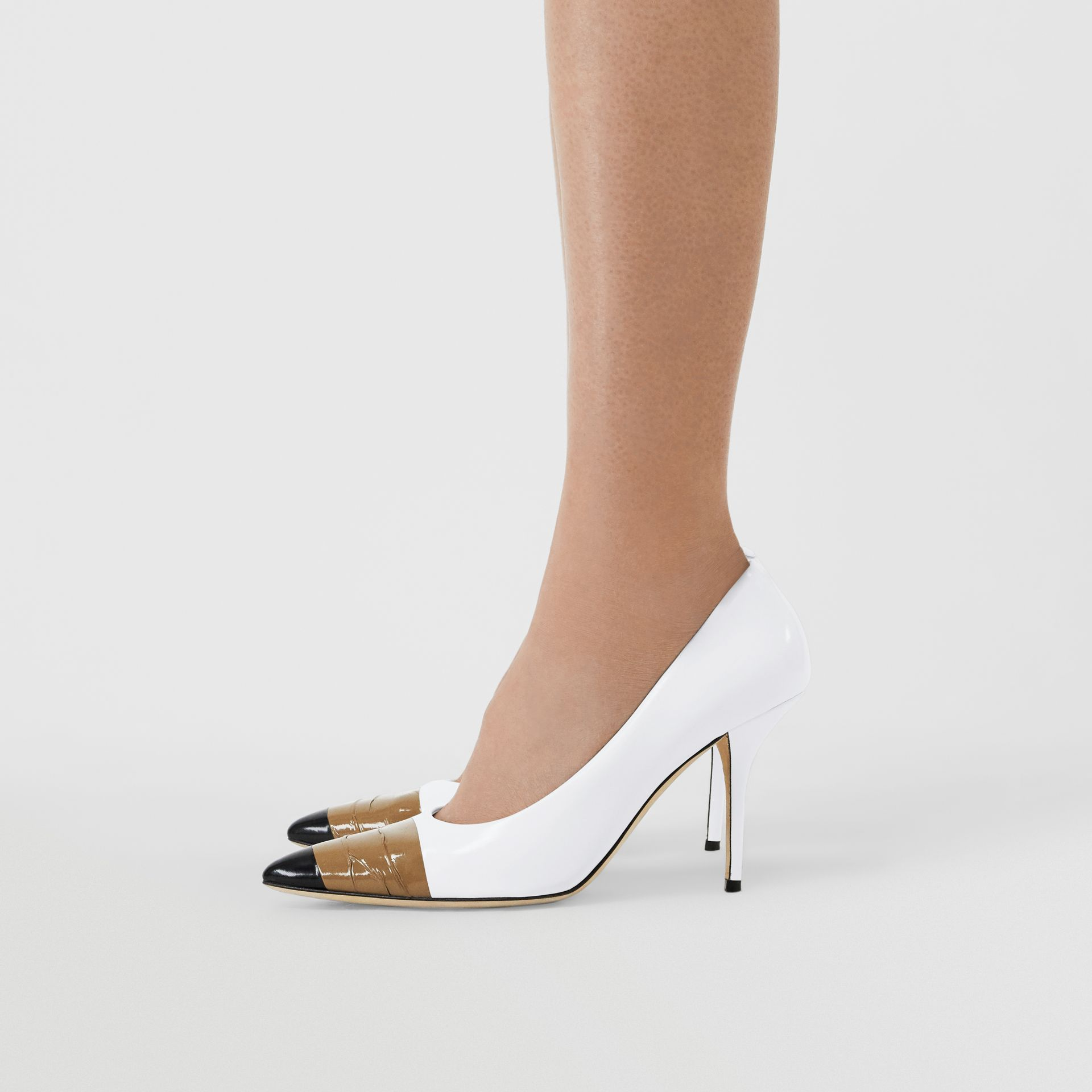 Tape Detail Leather Pumps in Optic White/ Black - Women | Burberry - gallery image 2