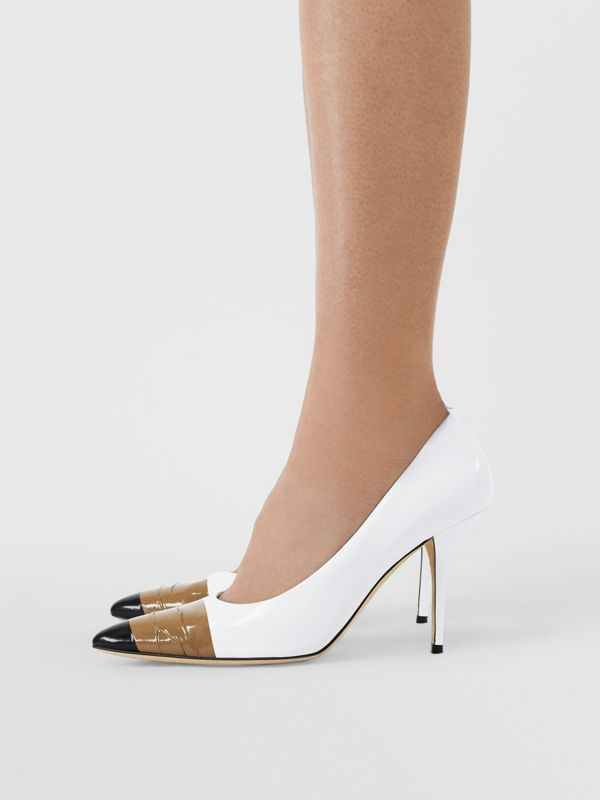 Tape Detail Leather Pumps in Optic White/ Black - Women | Burberry - cell image 2