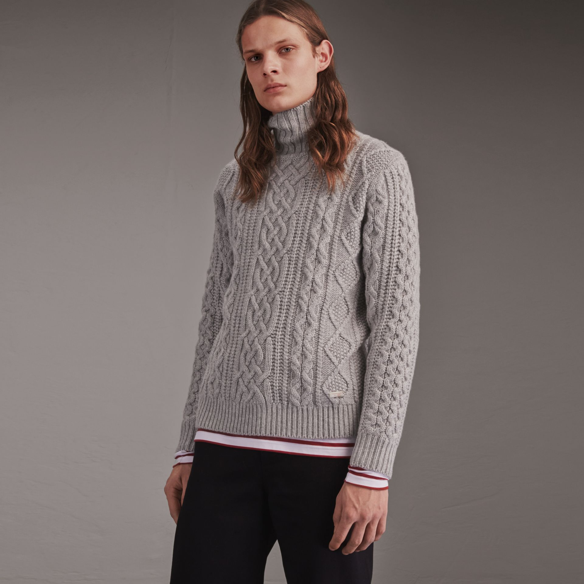 Funnel Neck Cashmere Cable Knit Sweater in Pale Grey Melange - Men | Burberry Singapore - gallery image 1