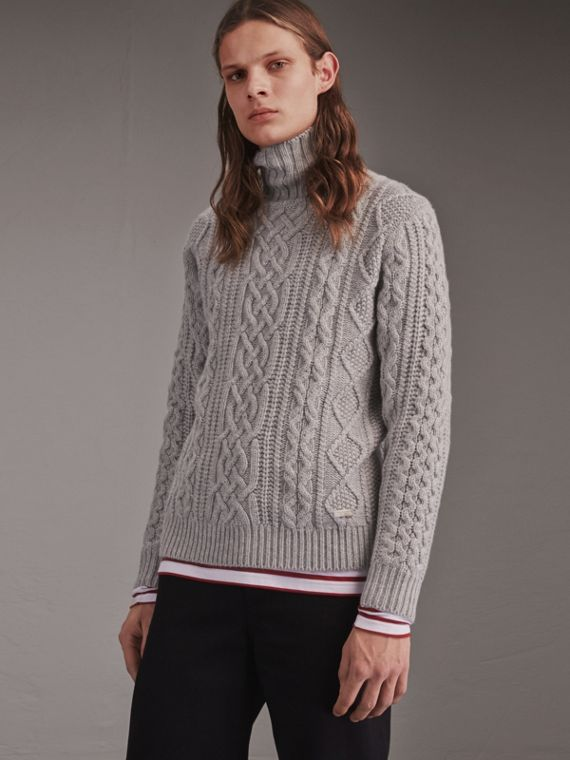 Funnel Neck Cashmere Cable Knit Sweater - Men | Burberry