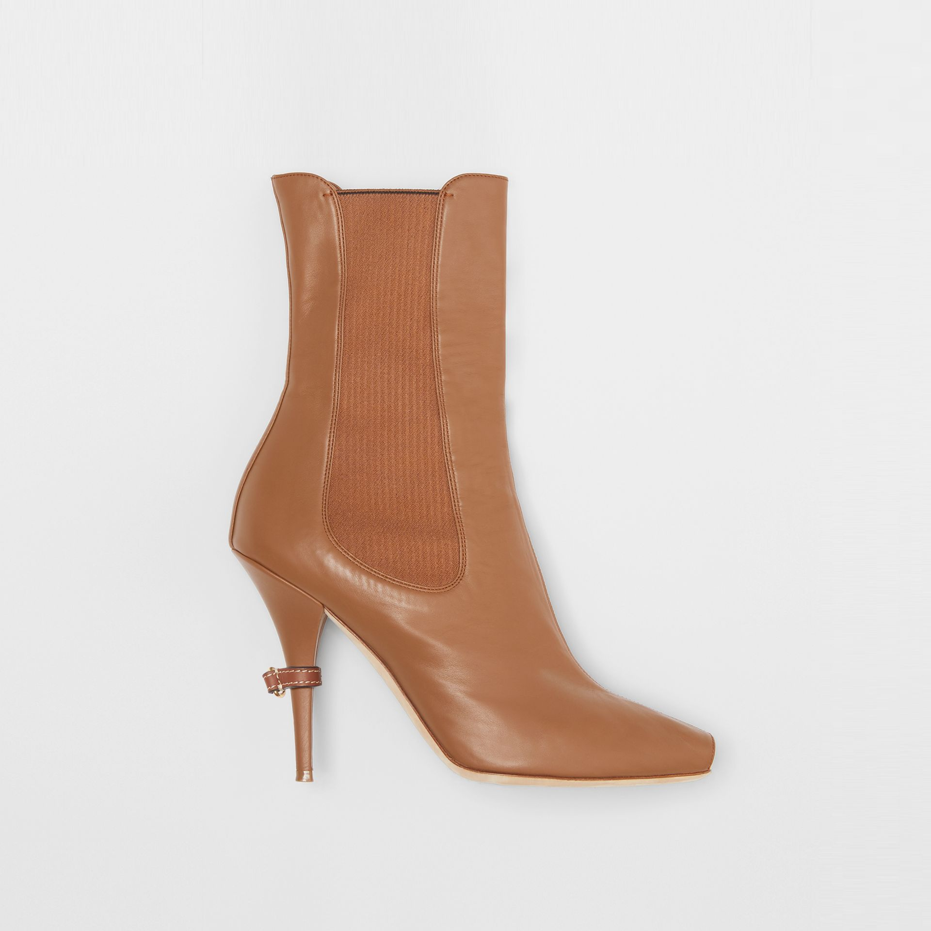 Leather Peep-toe Ankle Boots in Amber Brown - Women | Burberry - gallery image 0