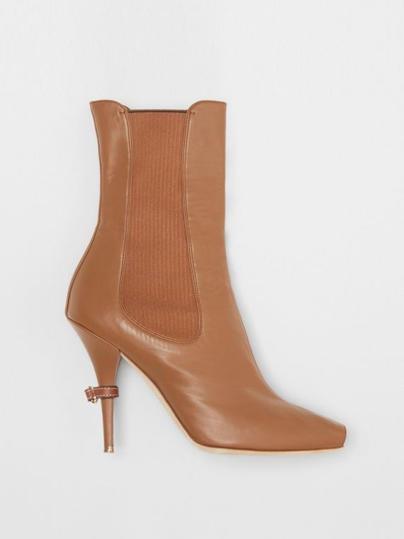 Leather Peep-toe Ankle Boots in Amber Brown