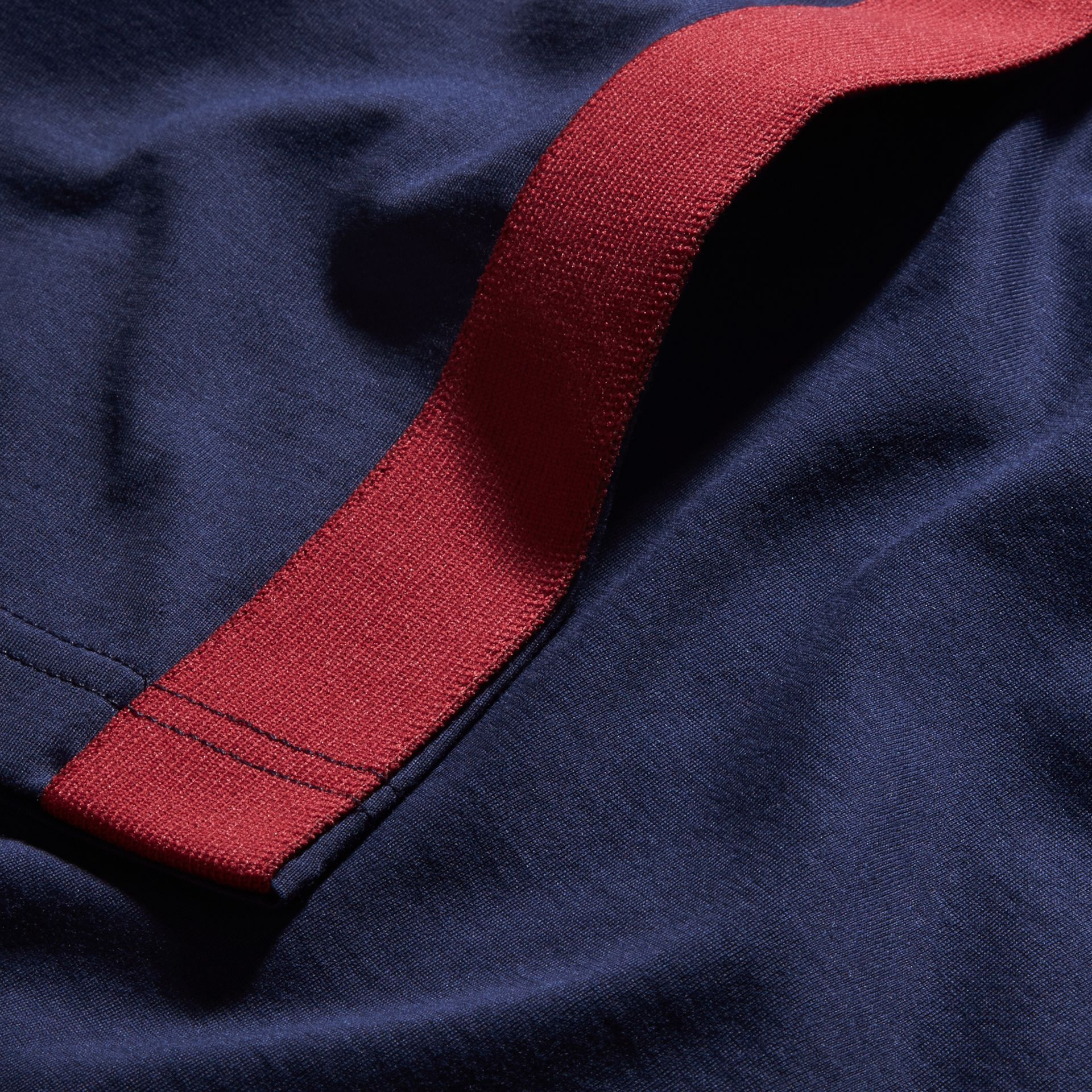 Navy Shoulder Stripe Cotton T-shirt Navy - gallery image 2