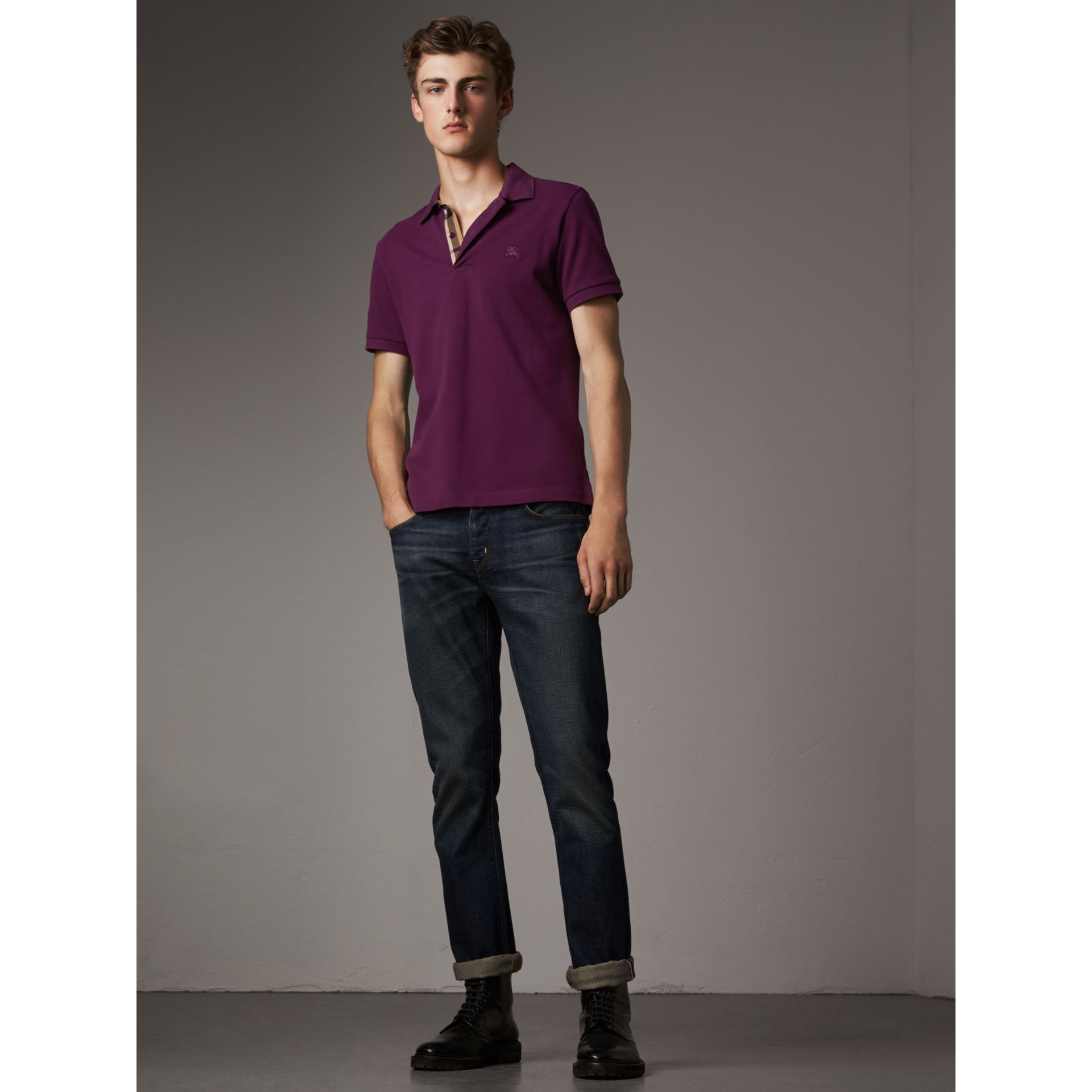Check Placket Cotton Piqué Polo Shirt in Deep Purple Amethyst - Men | Burberry - gallery image 1
