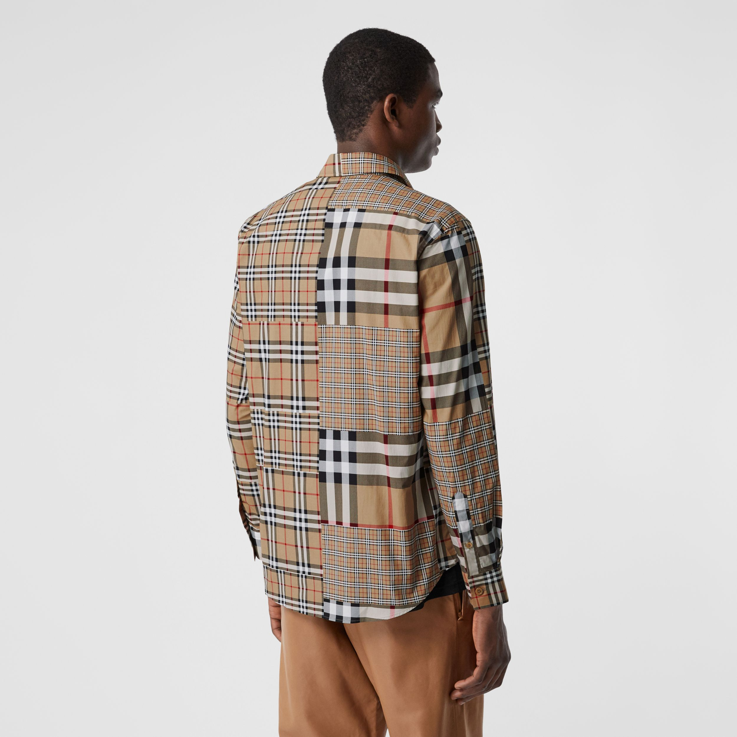 Classic Fit Patchwork Check Cotton Shirt in Archive Beige | Burberry United States - 3