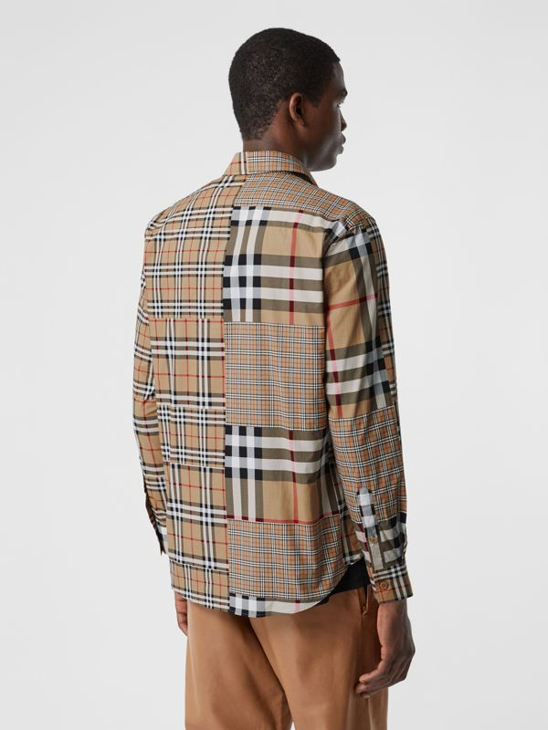 Classic Fit Patchwork Check Cotton Shirt in Archive Beige | Burberry United Kingdom - cell image 2