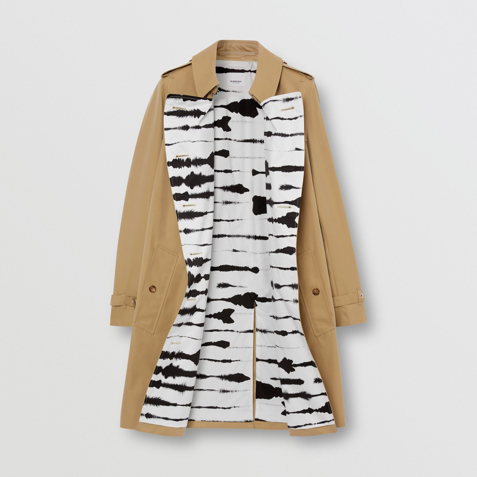 Watercolour Print-lined Cotton Gabardine Trench Coat in Honey - Women | Burberry - gallery image 7