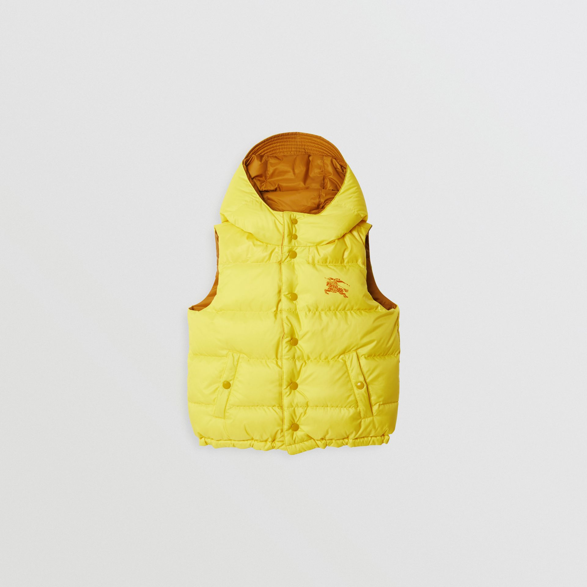 Reversible Showerproof Down-filled Hooded Gilet in Citrus Yellow | Burberry Australia - gallery image 0