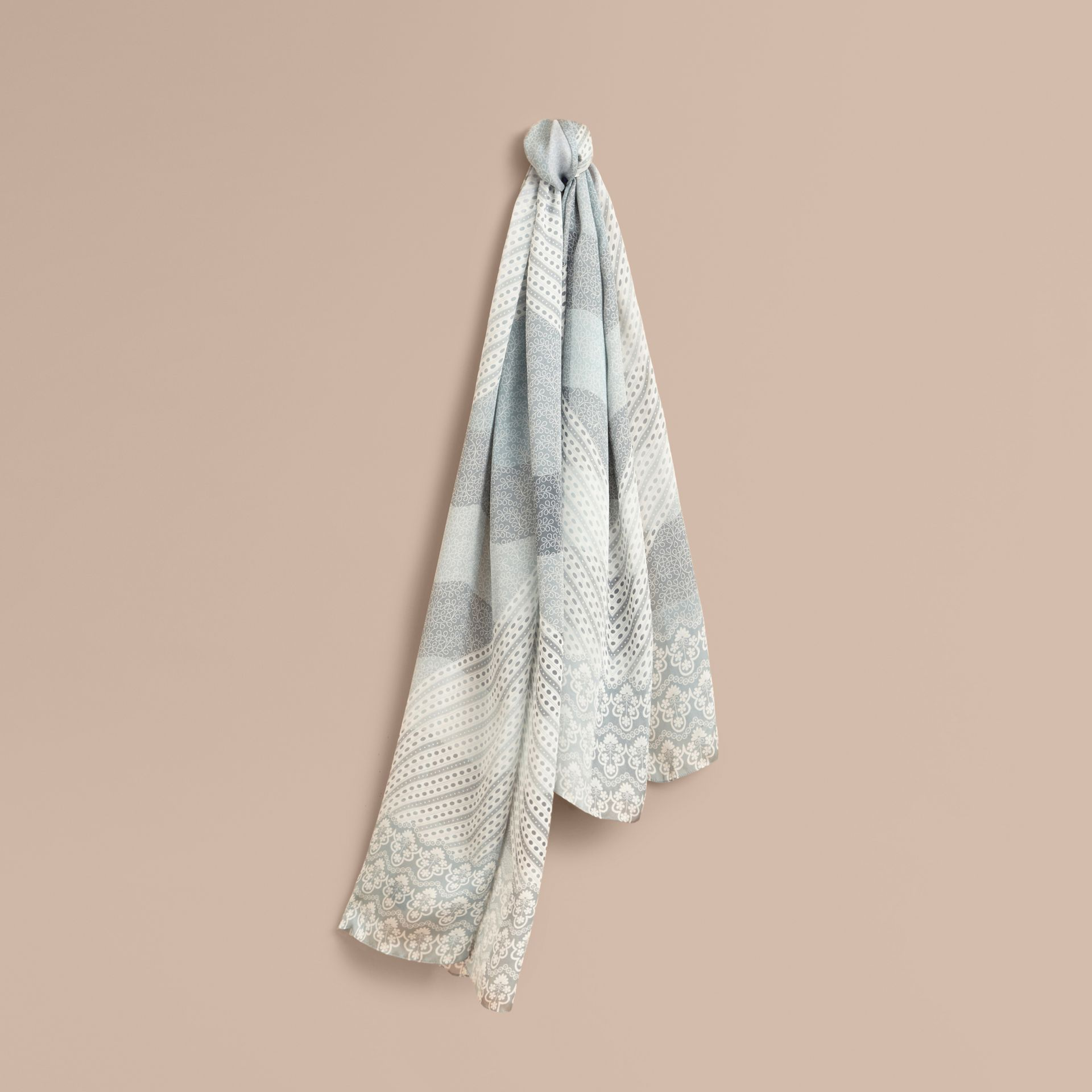 Floral Lace and Check Print Silk Scarf in Slate Blue - Women | Burberry - gallery image 1