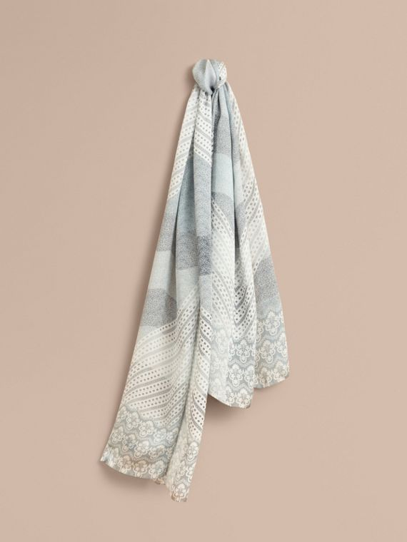 Floral Lace and Check Print Silk Scarf Slate Blue