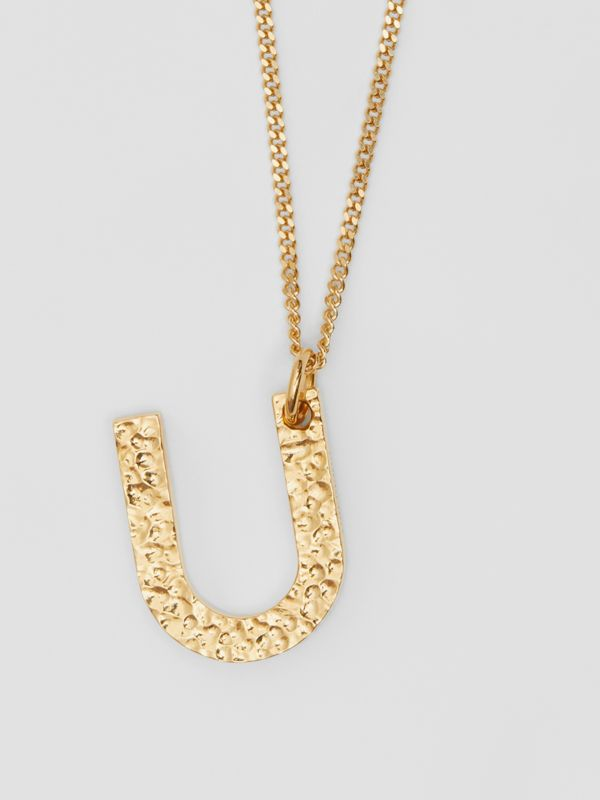 'U' Alphabet Charm Gold-plated Necklace in Light - Women | Burberry Australia - cell image 2