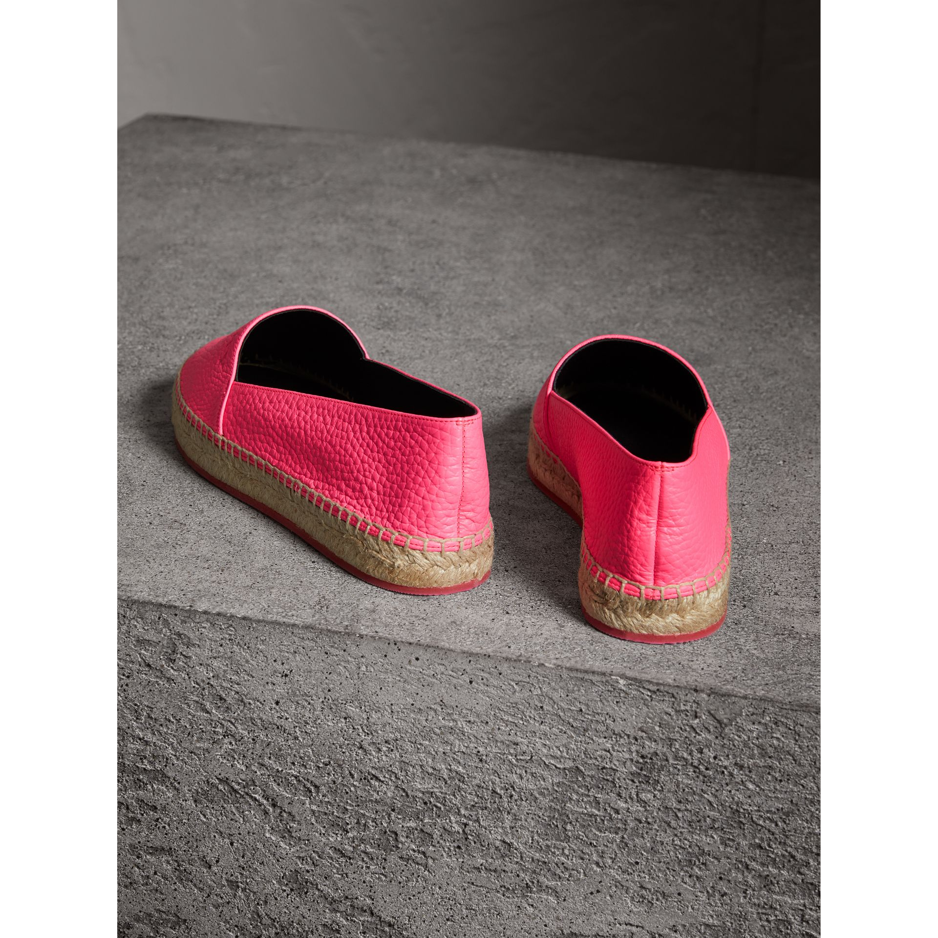 Embossed Grainy Leather Espadrilles in Neon Pink - Women | Burberry Australia - gallery image 3