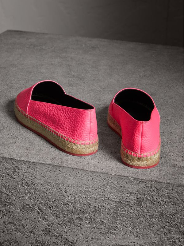 Embossed Grainy Leather Espadrilles in Neon Pink - Women | Burberry - cell image 3
