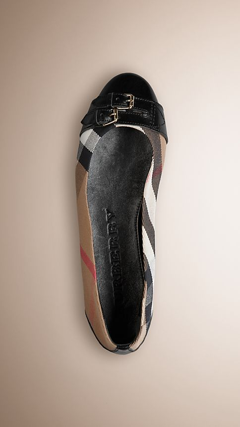 Black Bridle House Check Ballerinas - Image 1