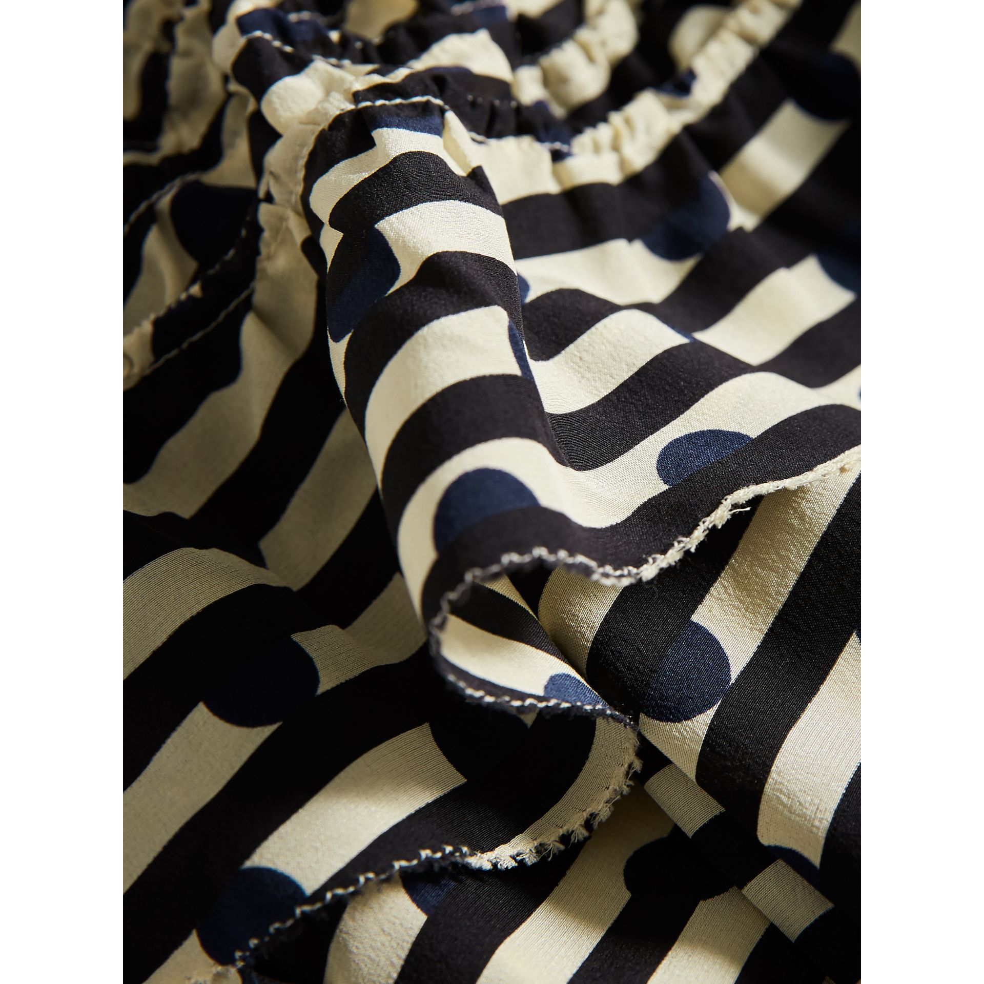 Ruched Detail Spot and Stripe Print Silk Dress in Navy - Girl | Burberry - gallery image 2