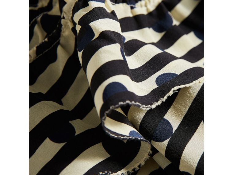 Ruched Detail Spot and Stripe Print Silk Dress in Navy - Girl | Burberry Canada - cell image 1