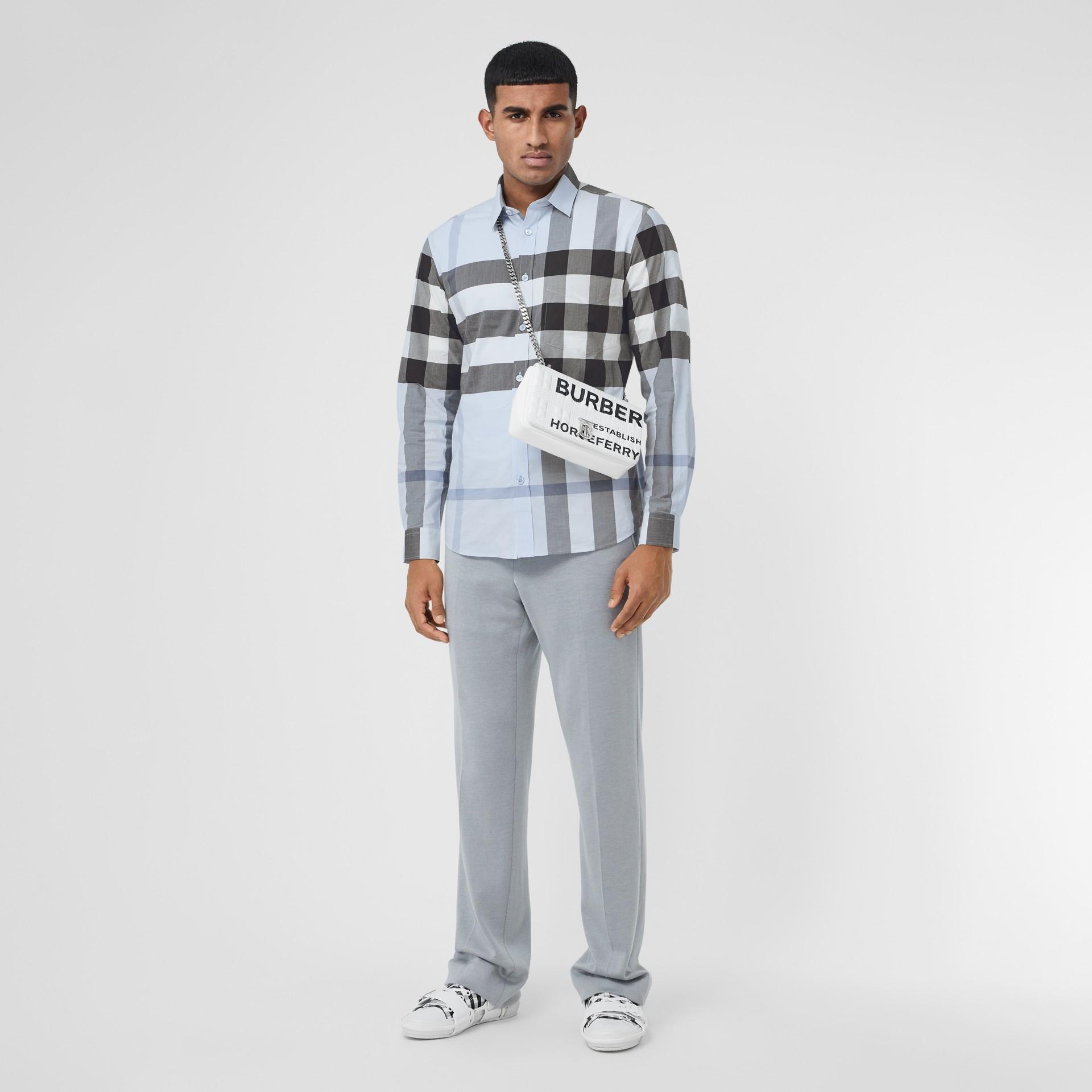 Check Stretch Cotton Poplin Shirt in Chalk Blue - Men | Burberry United Kingdom - gallery image 6