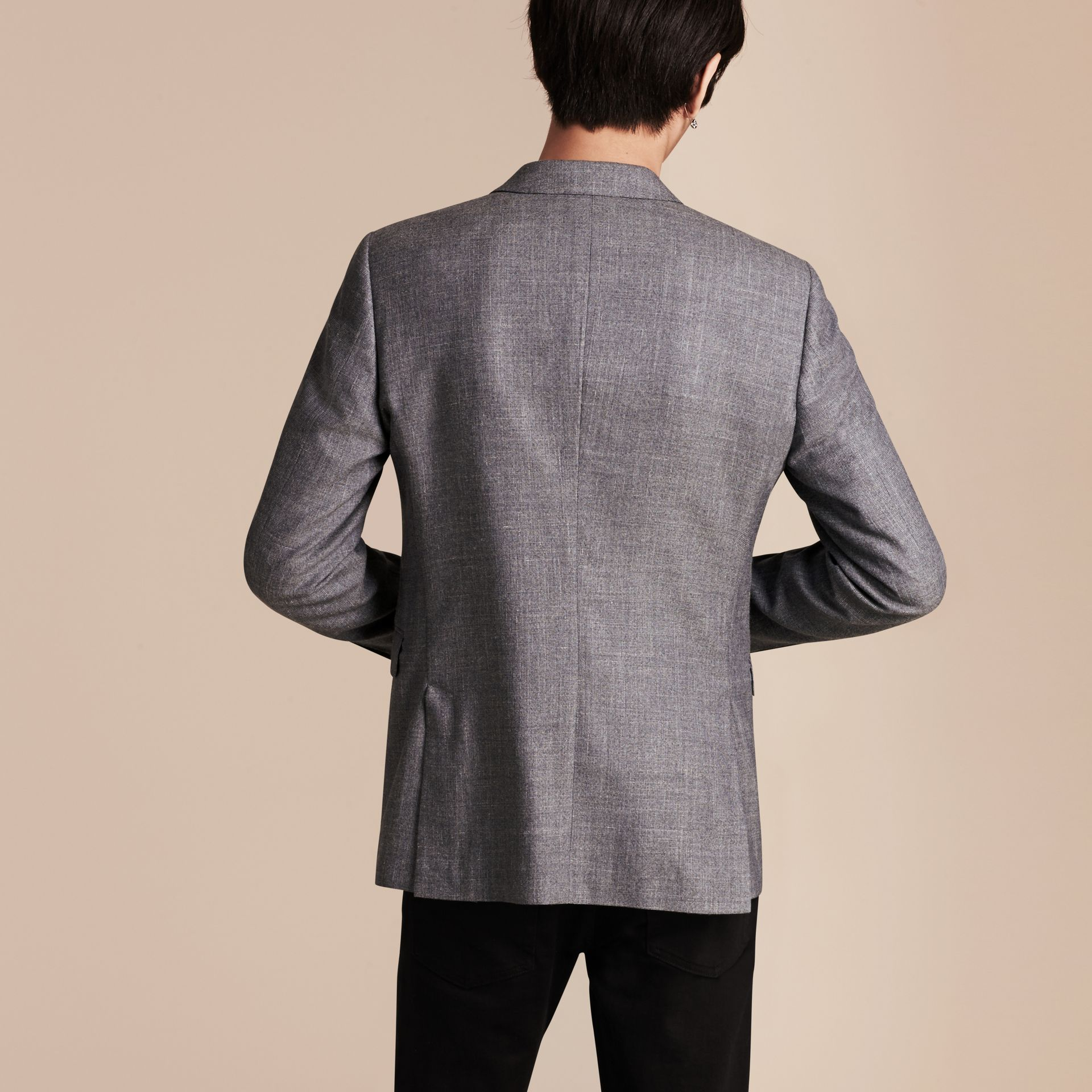Airforce blue Slim Fit Wool Silk Linen Jacket - gallery image 3