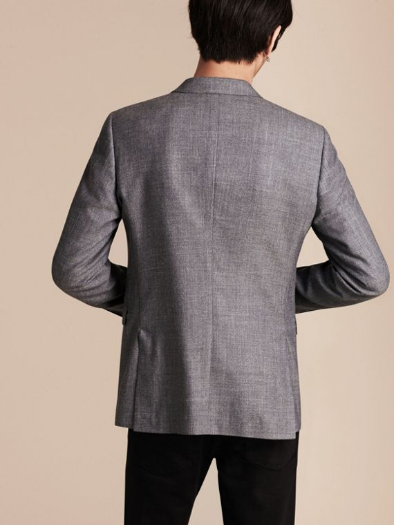 Airforce blue Slim Fit Wool Silk Linen Jacket - cell image 2