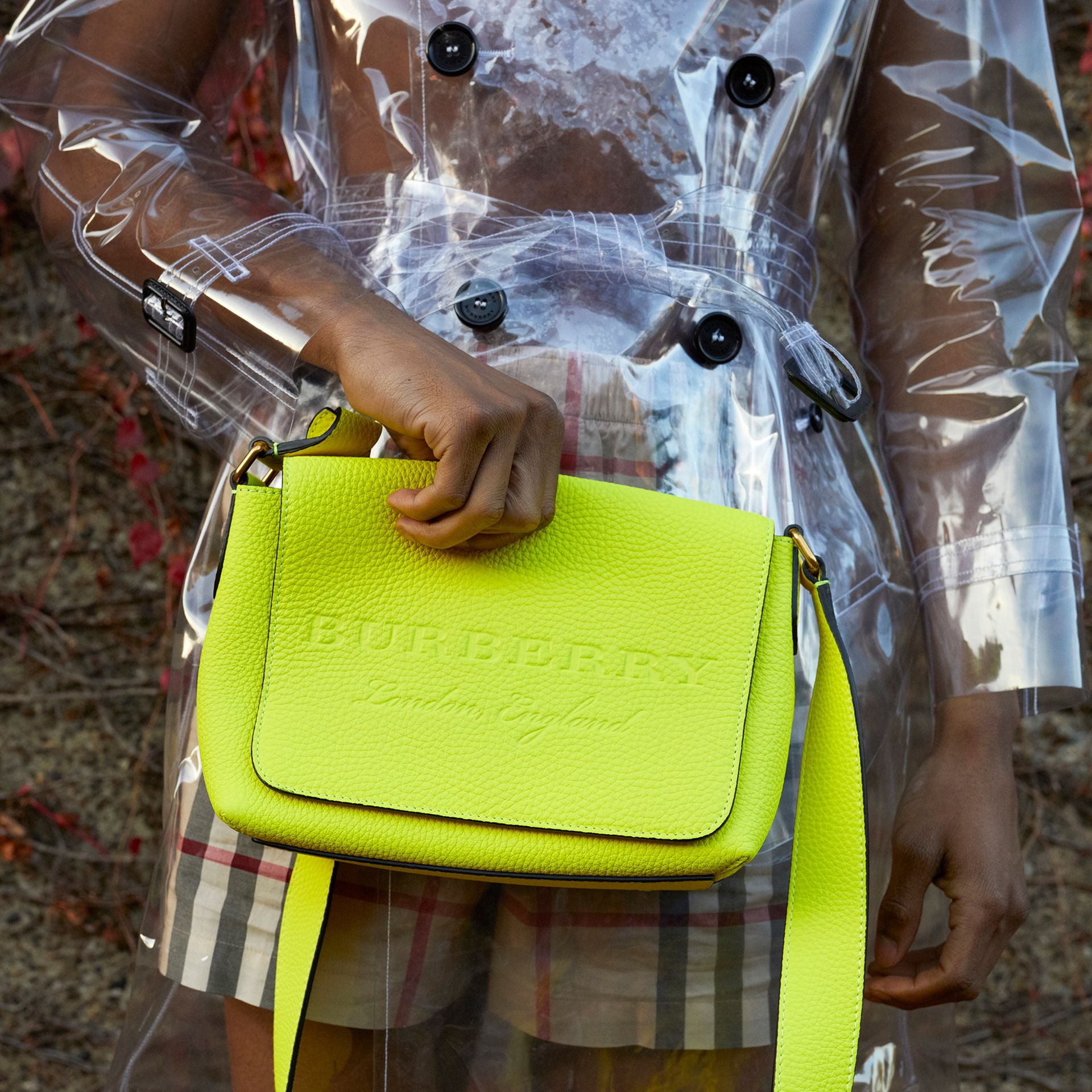 Small Embossed Neon Leather Messenger Bag in Yellow | Burberry - gallery image 9