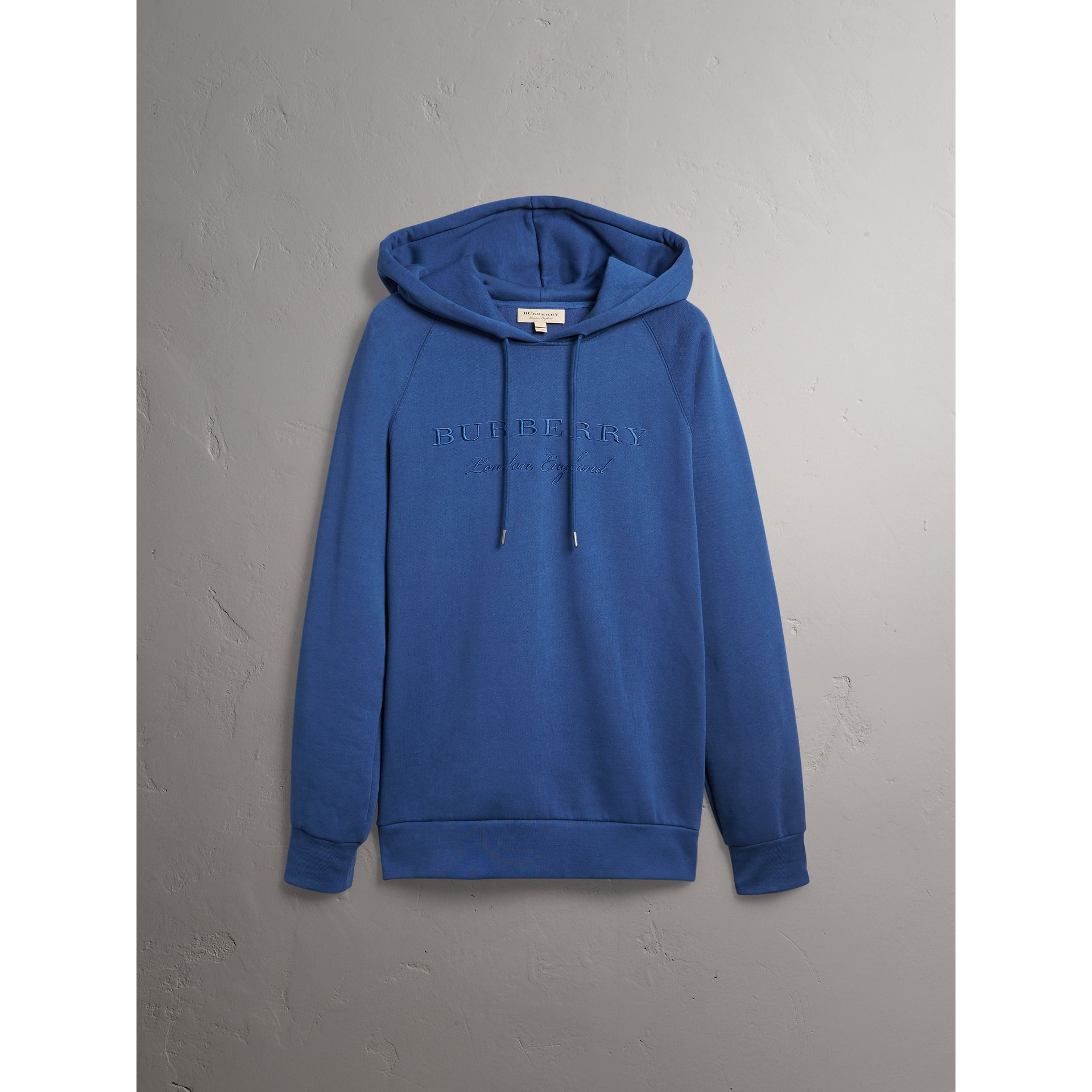 Embroidered Hooded Sweatshirt in Bright Blue - Men | Burberry Canada - gallery image 3