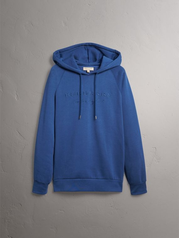 Embroidered Hooded Sweatshirt in Bright Blue - Men | Burberry United Kingdom - cell image 3