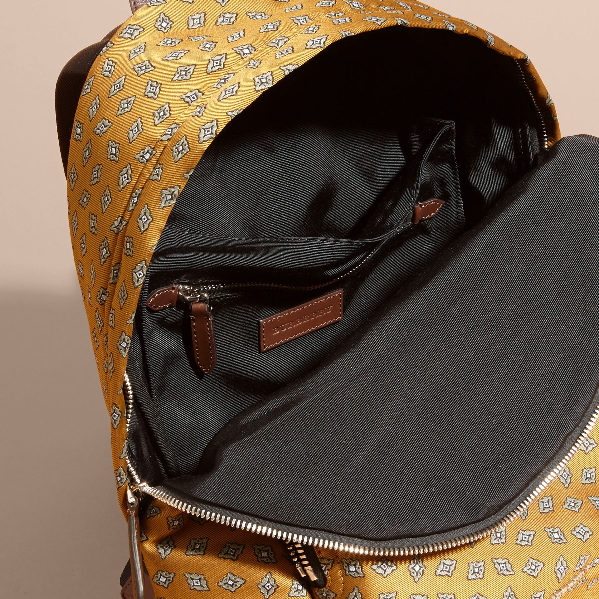 Citrus yellow Leather Trim Abstract Jacquard Backpack Citrus Yellow - gallery image 5