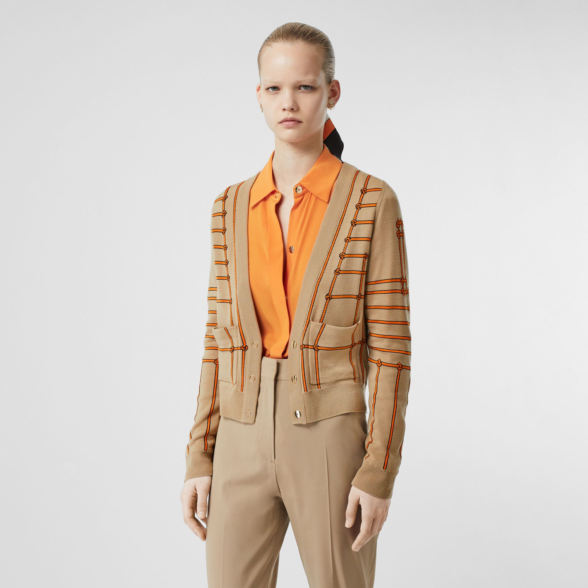 Rope Silk Wool Jacquard V-neck Cardigan in Honey - Women | Burberry Australia - gallery image 3