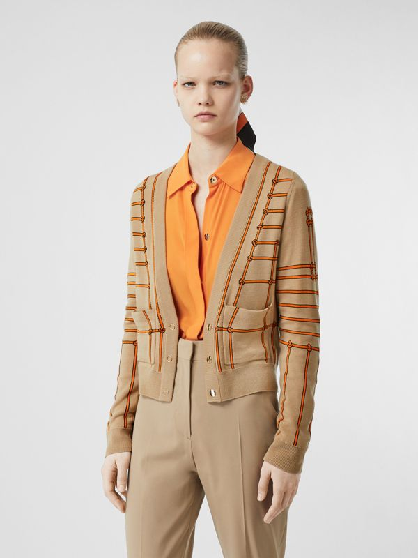 Rope Silk Wool Jacquard V-neck Cardigan in Honey - Women | Burberry Australia - cell image 3