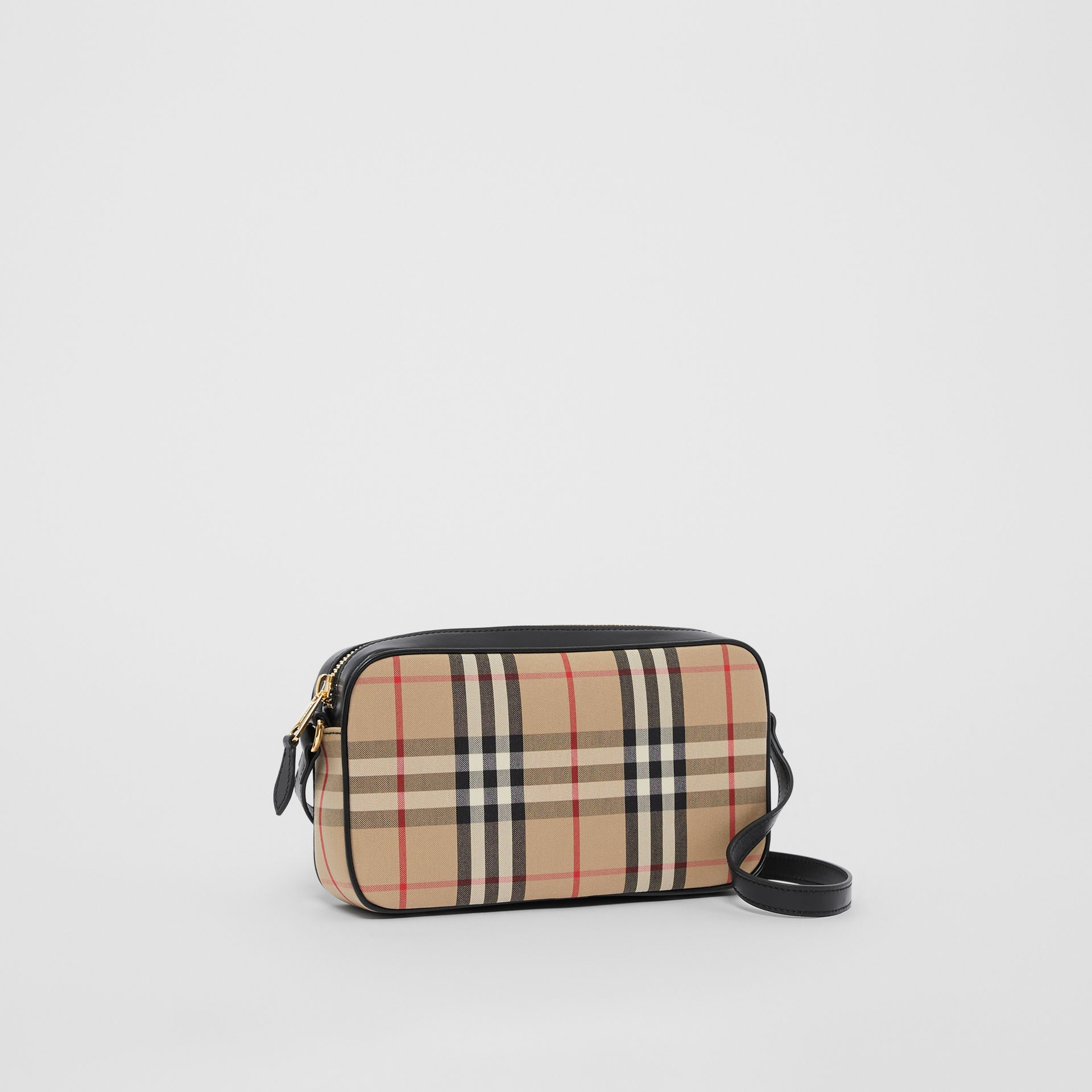 Small Vintage Check and Leather Camera Bag in Archive Beige - Women | Burberry - gallery image 6