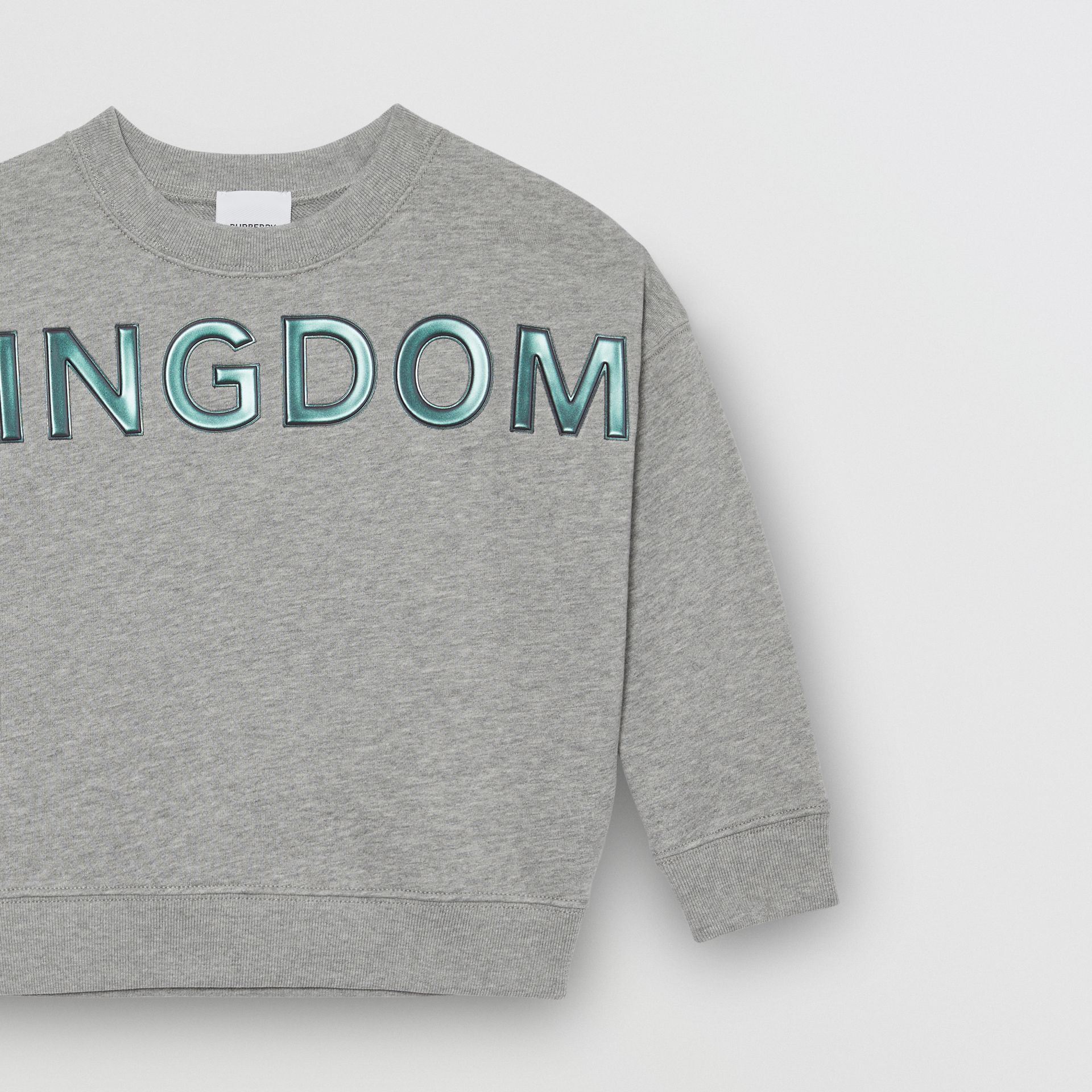 Kingdom Motif Cotton Sweatshirt in Grey Melange | Burberry - gallery image 3
