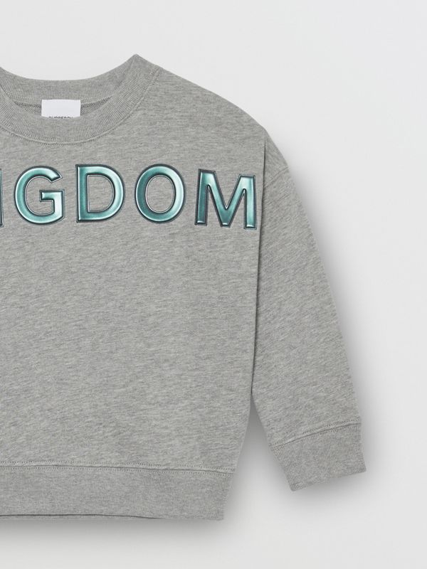 Kingdom Motif Cotton Sweatshirt in Grey Melange | Burberry - cell image 3